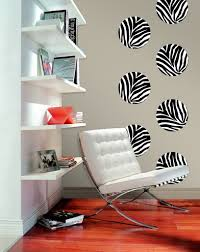 Zebra Print Living Room Decor Furniture Teen Room Decor With White Modern Lounge Chair Near