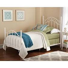 Silver Twin Bed Vintage Style Metal Frame Headboard and Footboard White