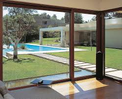 large size of outdoor glass sliding entrance door from the wooden deck with black staircase