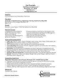 Printable Resume Sample For Automotive Technician Apprenticeship