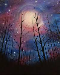drawn night sky moon painting 8