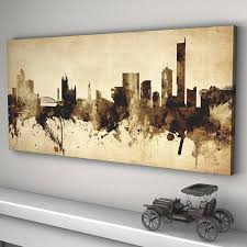 manchester skyline cityscape vintage art print panoramic canvas on manchester skyline wall art with manchester skyline cityscape vintage art print by artpause