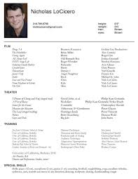 Acting Resume Example New Professional Acting Resume Template Commily Com Resume Templates