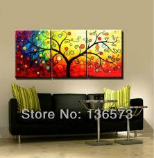 hecho a mano pieza 3 lienzo de arte de la pared conjuntos de dinero del árbol 3 piece canvas artlarge