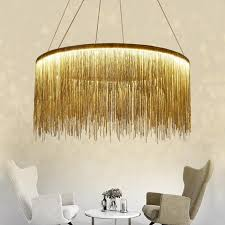 post modern luxury led pendant chandelier lamp in chrome gold metal chain pendant lights for hotel restaurant kitchen