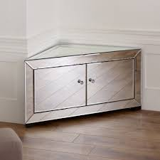 Mirrored TV Stand Glass Cabinet Contemporary Decor Vintage Unit ...