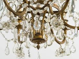 1940s french bronze and crystal basket chandelier in good condition for in tarrytown