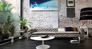 brick living room furniture. Modern Minimalist Painted Brick Wall With Button Back Sofa And Lacquered Coffee Contemporary-living- Living Room Furniture E