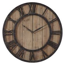 uttermost 06344 powell aged wooden 30 inch diameter wall clock loading zoom