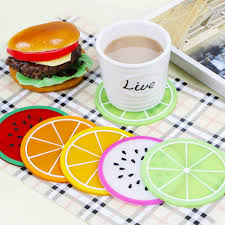 <b>6Pcs Silicone Fruit</b> Slices Pattern Coaster Glass Cup Mat Drink ...