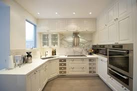 Kitchen Without Island U Shaped Kitchen Designs Without Island For Small  House Using White Cabinet And