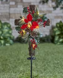 Cemetery Christmas Tree With Lights Solar Lighted Christmas Cross Stake Crochet Christmas