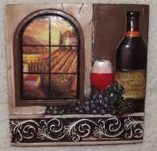 Wine Decor For Kitchen Grapes Wine Wall Art Plaqueold World Scrollkitchen Decortuscan