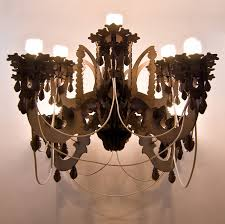 going against the idea of a chandelier as an indicator of wealth this was produced with very low cost materials ion methods