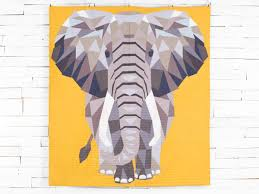 Animal Quilt Patterns With a Fun, Modern Design Style & Modern Elephant Quilt Kit Adamdwight.com
