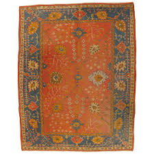 antique oushak carpet oriental rug handmade orangey c ivory and saffron