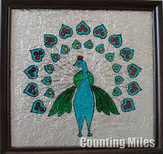 glass painting with pea design pea design