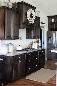 dark stained kitchen cabinets. Plain Dark Love The Cabinet Color  Summer Home Tour The Wood Grain Cottage Intended Dark Stained Kitchen Cabinets