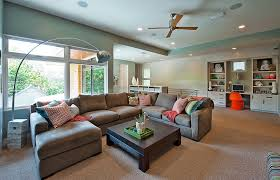 catnapper sectional family room contemporary with arc lamp built in desk ceiling fan ceiling lighting corner accent lighting family room