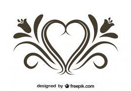 retro fl heart ornamental graphic element free vector
