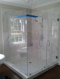 Bathroom: Outstanding Frameless Glass Shower Door With Marble Bathroom Wall  - Frameless Glass Shower Door