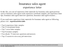 Insurance Sales Agent Experience Letter