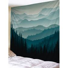 mountain forest print tapestry wall hanging decor