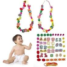 60pcs DIY 3D <b>Puzzle</b> Kids Stringing Threading <b>Beads Toy</b> Cartoon ...
