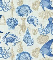 Joann Fabrics Patterns Enchanting Outdoor Fabric Solarium Sealife Marine JOANN