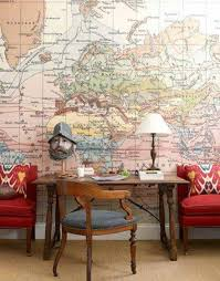 wallpaper for office wall. Home Office , Wall Decor Ideas : With Map Wallpaper For