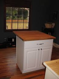 Kitchen: Simple Small Kitchen Island Diy With Chalk Color And Wooden  Countertop Plus Chic Two