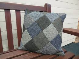 Tweed Patchwork Cushion/ Pillow <b>Cover</b> | Patchwork cushion ...