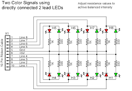 signal head wiring to drive single color leds just use single resistors and single leds for three color panel indicators use the same circuits that are used for line side