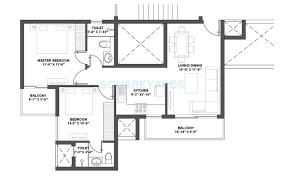2 bhk 985 sq ft apartment floor plan
