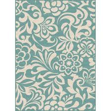 8 x 10 large fl aqua indoor outdoor rug garden city rc willey furniture