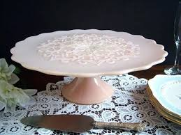 lace pink milk glass cake stand wedding vintage in uk