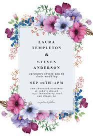 Purple Bouquet Wedding Invitation Template Free