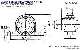 8mm Bore Kp08 Mini Zinc Pillow Set Screw Block Bearing Kp8uu