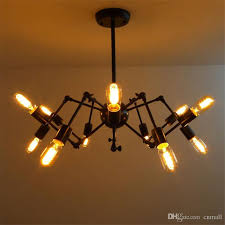 new spider chandelier vintage wrought iron pendant lamp loft for light bulb idea 9