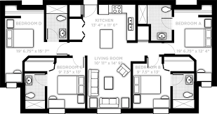 apartment with kitchen living room 4 single bedrooms and 4 bathrooms