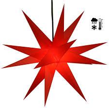 Stabiler Wetterfester 3d Weihnachtsstern Außenstern Steckstern Für Garten Balkon ø 60 Cm Mit 20 Spitzen Inkl 4 M Außenkabel Hartplastik Rot