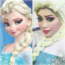 makeup artist uses hijab to transform herself into disney characters pleated jeans