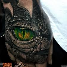 зеленый глаз крокодила тату на кисти у парня добавлено иван