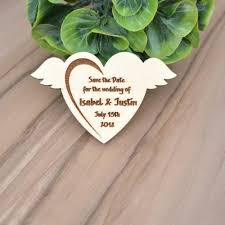 personalized wooden save the date magnets wooden heart with wings wedding party favors for guest wood party gifts supplies wedding favors for guests
