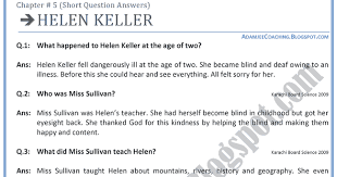 adamjee coaching helen keller question answers english ix