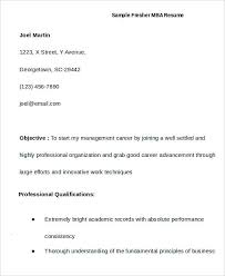 First Job Resume for MBA