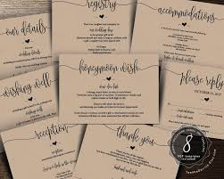 Wedding Insert Templates Wedding Insert Cards Pdf Template Instant Download