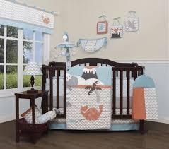 details about blue gray orange dinosaur 13pc crib bedding set baby nursery quilt diaper per