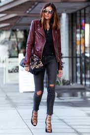 the date night outfit skinny jeans and leather jacket