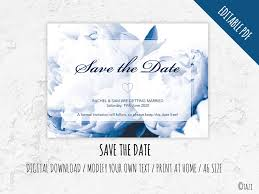 Print Your Own Save The Date Editable Save The Date With Navy Peony Digital Download